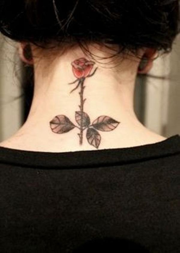 Small Rose Tattoo for Neck