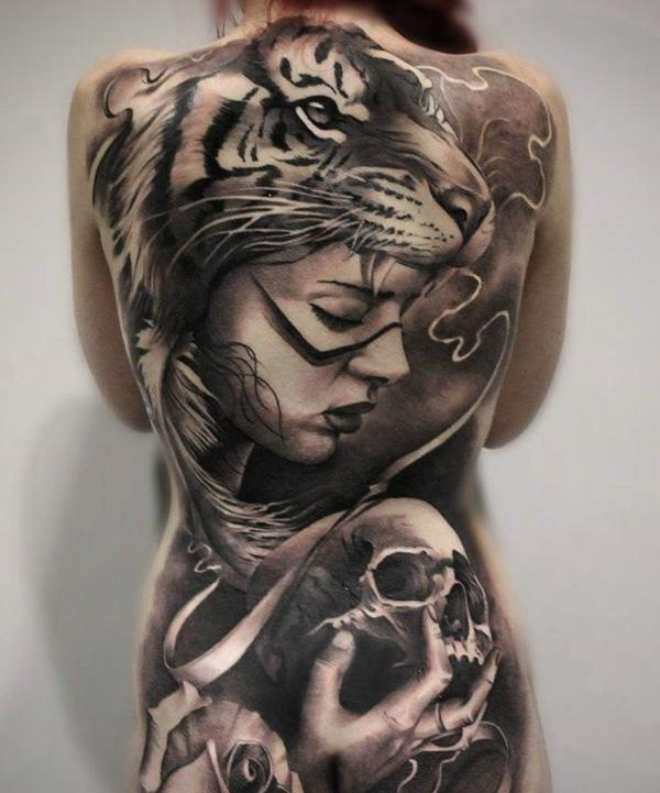 Tiger woman back tattoo