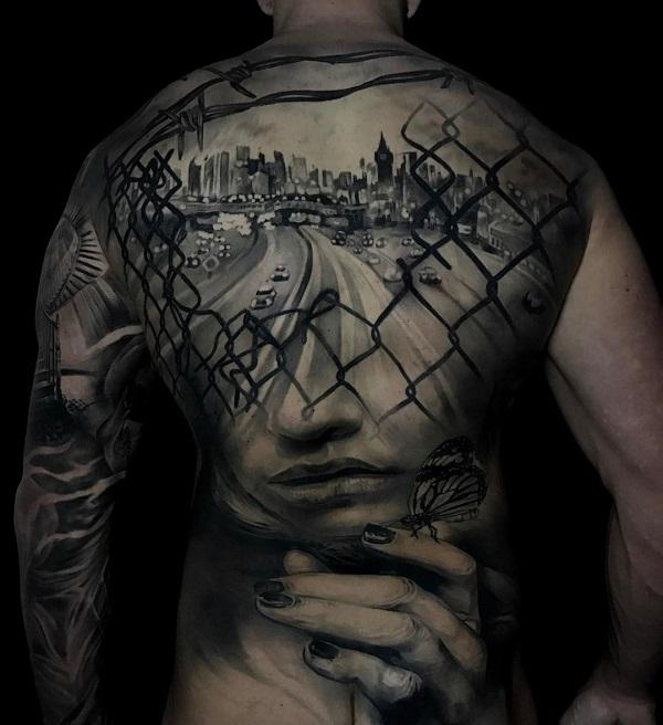 Changed life back tattoo