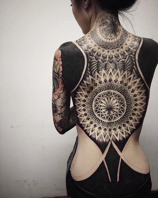 mandala inspired back tattoo