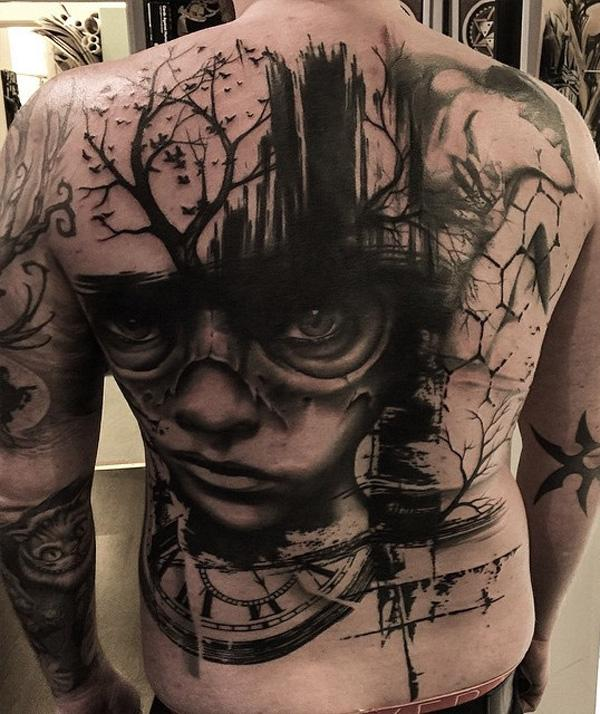 Clock woman tree and birds back tattoo for man