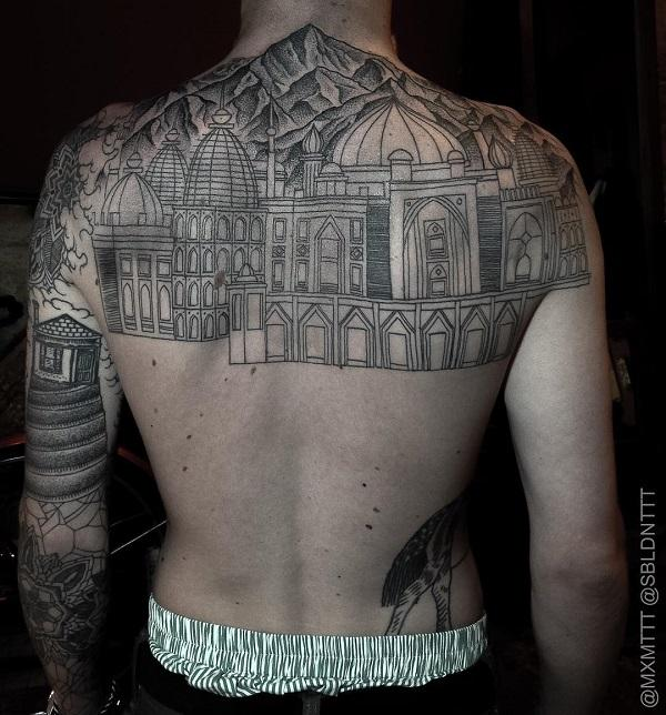 Mountain and palace back tattoo for man
