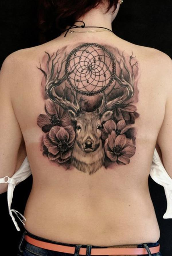 dreamcatcher-and-deer-back-tattoo-71