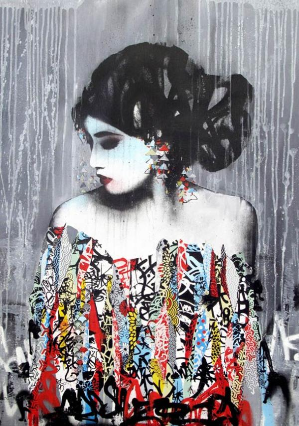 hush the street artist on pinterest stencil painting geishas and street artists. Black Bedroom Furniture Sets. Home Design Ideas