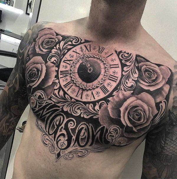 Watch And Rose Chest Tattoo   65 Nice Chest Tattoo Ideas ...