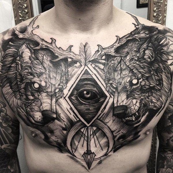 2906e430a Wolf chest tattoo - 75 Nice Chest Tattoo Ideas ...
