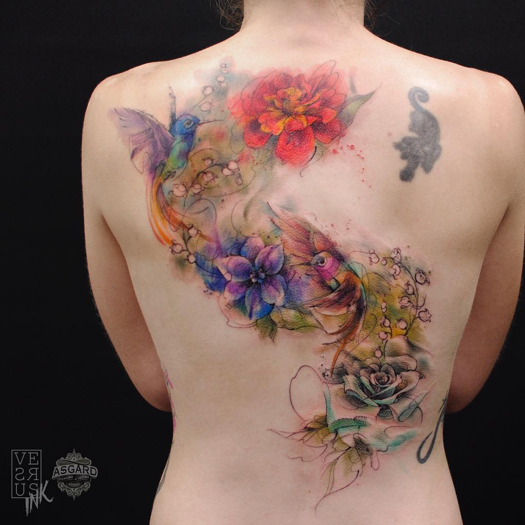 beautiful-watercolor-flower-and-bird-tattoo-95