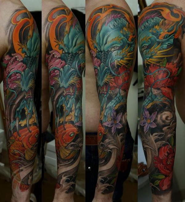 Dragon forearm sleeve tattoos