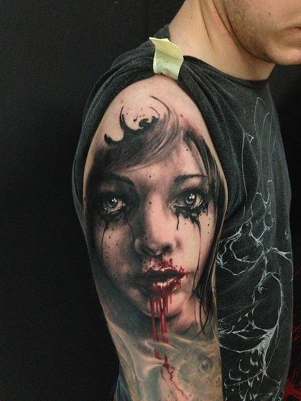 783f4d2f1 Zombie girl tattoo on arm - 35 Horrible Zombie Tattoos <3 <3 ...