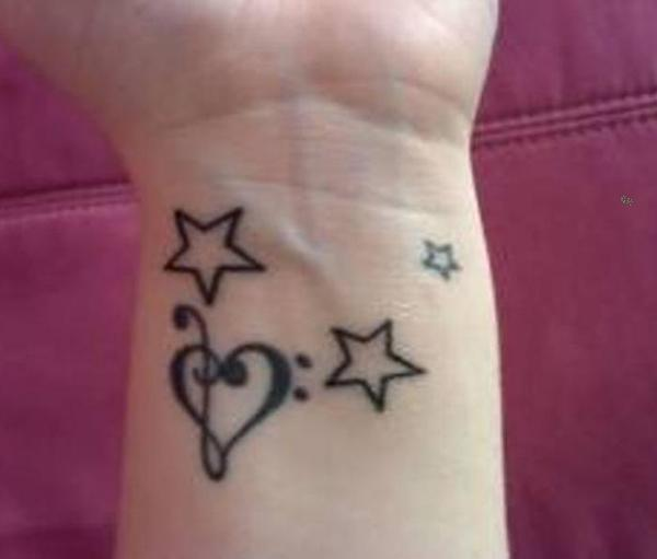 Heart And Star Tattoo On Wrist