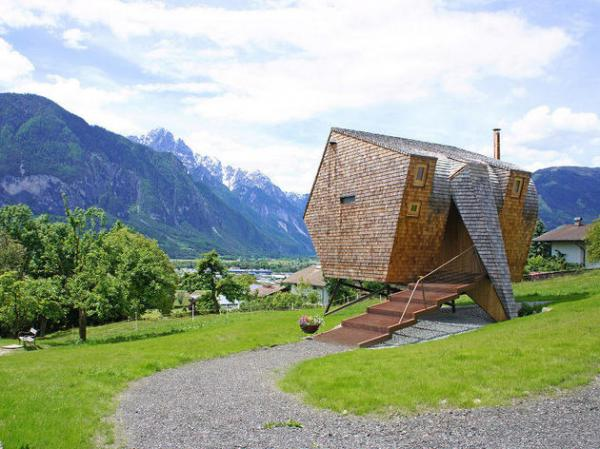 Compact Austrian Mountain House On Stilts   Tiny Wooden House On Stilts ...