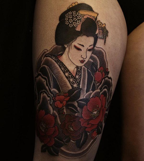 PHOTOGRAPH FEMALE FIGURE JAPANESE WOMEN TATTOO DESIGNS ART PRINT POSTER GZ5734