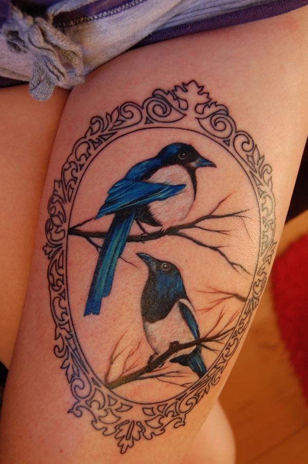 Two for joy thigh tattoo - 55 Thigh Tattoo Ideas <3 <3