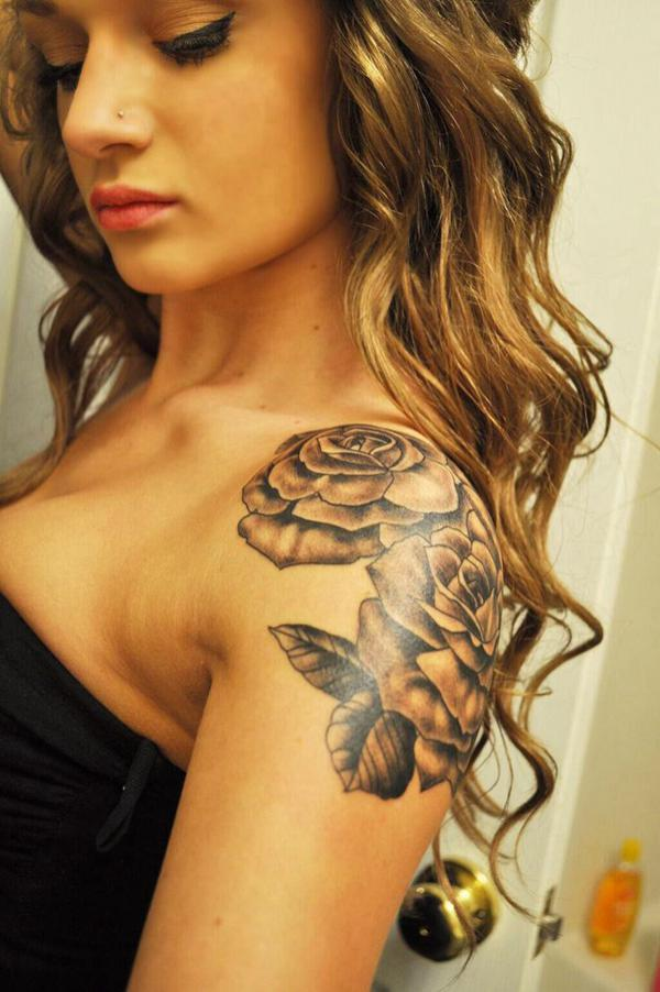 Skull And Roses Shoulder Tattoo
