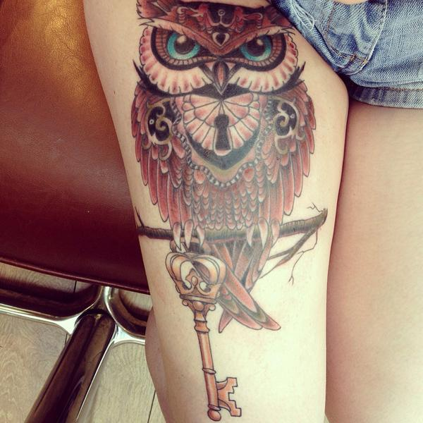 Owl thigh tattoo - 55 Thigh Tattoo Ideas <3 <3