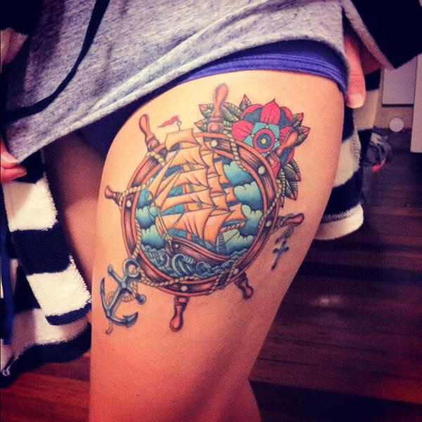 Ship thigh tattoo - 55 Thigh Tattoo Ideas <3 <3