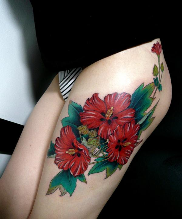 zebra print flower tattoo