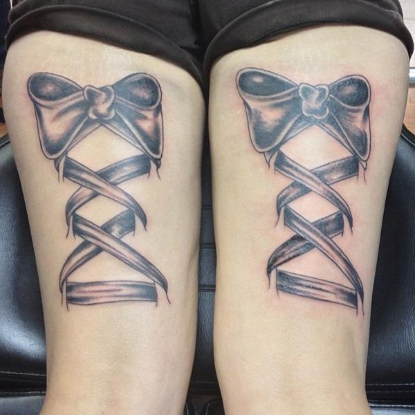 Ribbon and lace back of thigh tattoo - 55 Thigh Tattoo Ideas <3 <3
