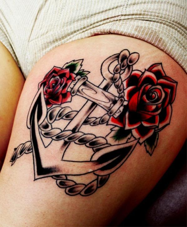 anchor and rose thigh tattoos for girls