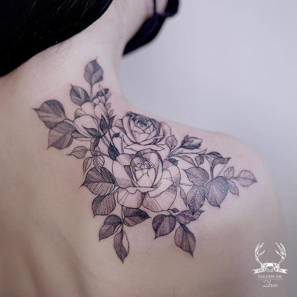 Amazing Rose Shoulder Tattoo