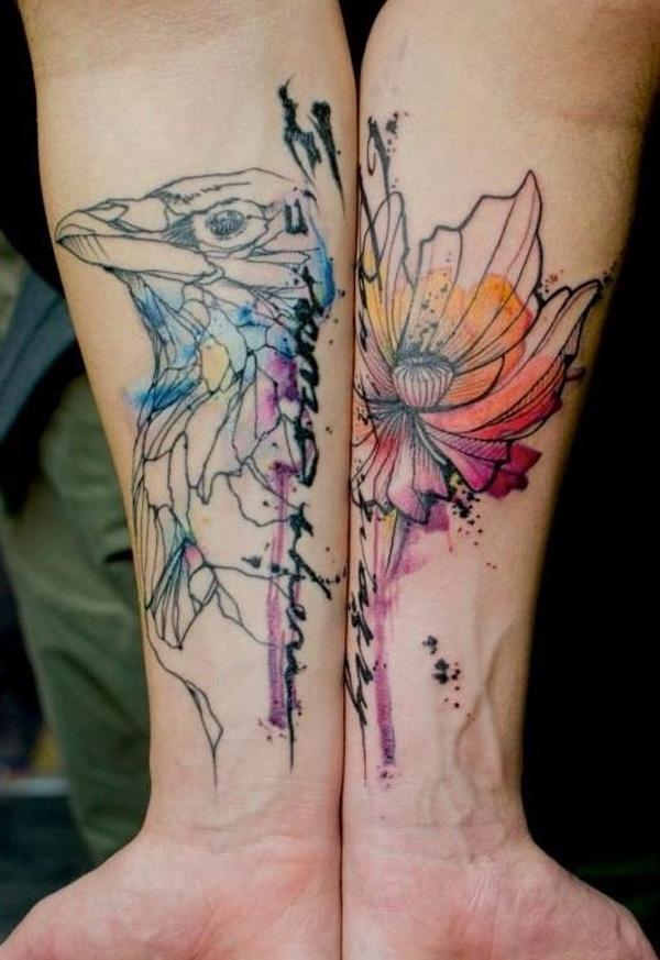 ff462ddc5f280 Watercolor tattoo. Time warp watercolor tattoo - 65+ Examples of Watercolor  Tattoo <3 ...
