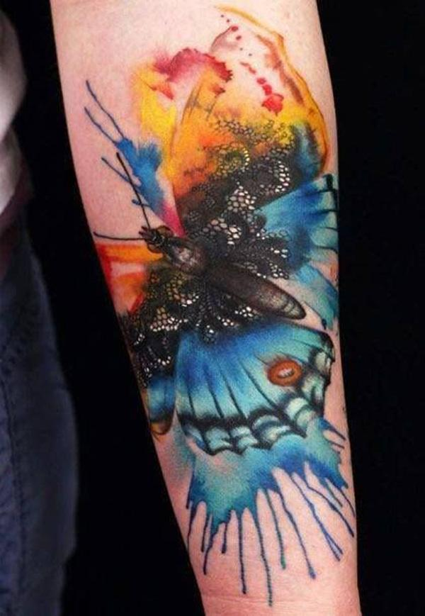 12011bdd0ff3b Watercolor butterfly tattoo on arm - 65+ Examples of Watercolor Tattoo <3  <3 ...