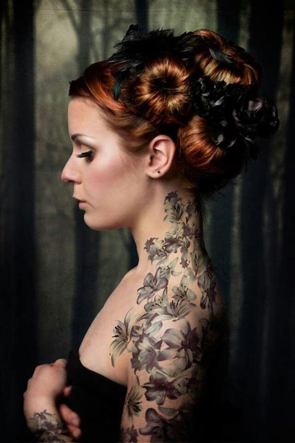 33 Amazing Flowers the Neck to the Arm Tattoo Ideas for Women