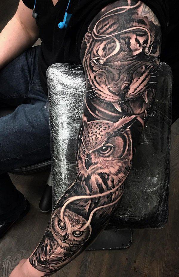 8bb9c0005e40d 3D owl sleeve tattoo - 55 Awesome Owl Tattoos <3 ...