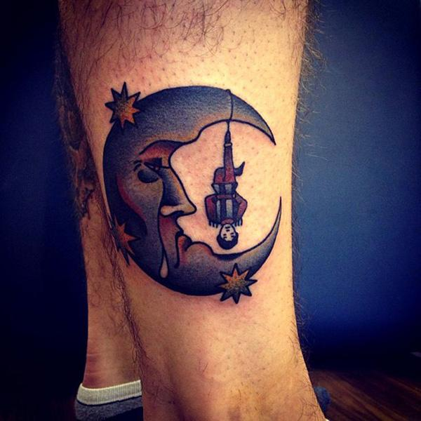 wolf moon tattoo designs