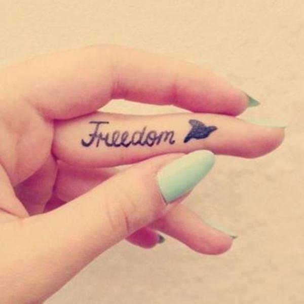 065d167ccb05b Font and bird finger tattoo - 55+ Cute Finger Tattoos <3 <3 ...