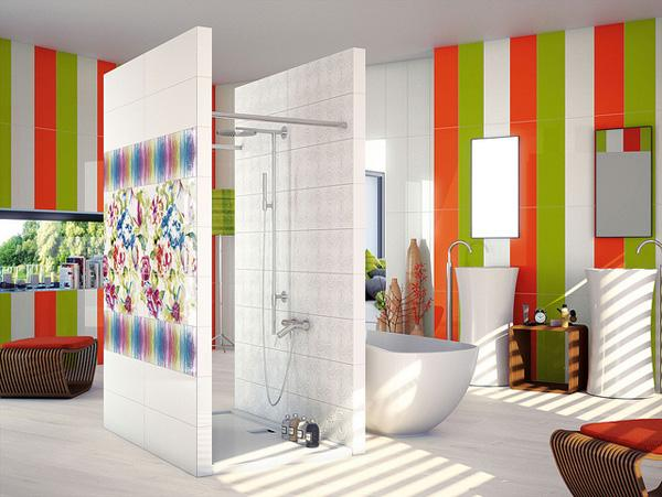 Spectacular A shower breaking the space warm colours modern shapes