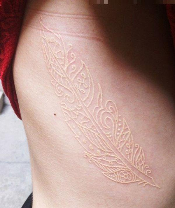 White Ink Tattoos Feather