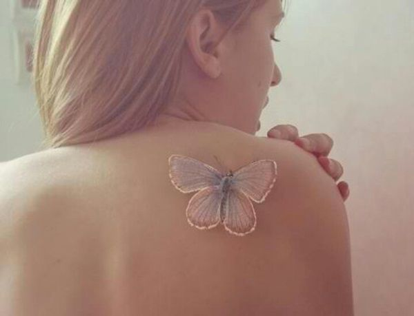 3D white ink butterfly tattoo for women