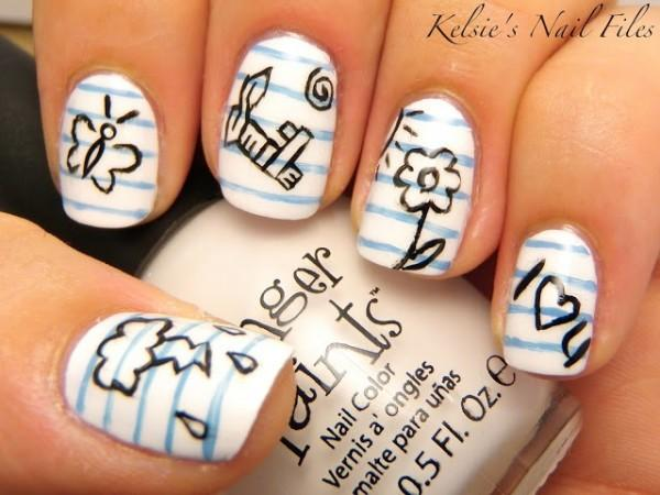 Cute freehanded doodles for school nails600