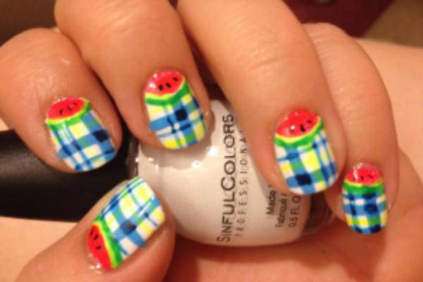 Cute plaid and water melon nail art