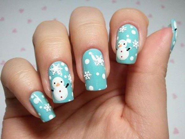 40 cute nail designs art and design cute snowman 40 cute nail designs prinsesfo Images