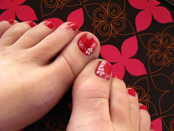 red easy toe nail design use acrylic gel modify the shape of your toenails