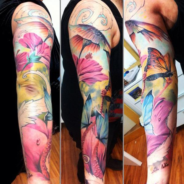 Watercolor Sleeve Tattoo | Car Interior Design
