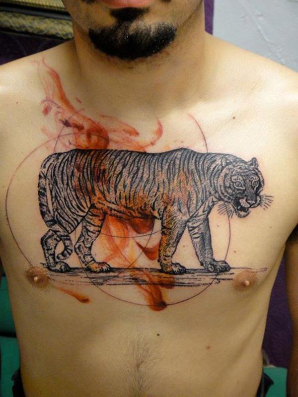 a88412ccc tiger tattoo on chest - 55 Awesome Tiger Tattoo Designs <3 <3 ...
