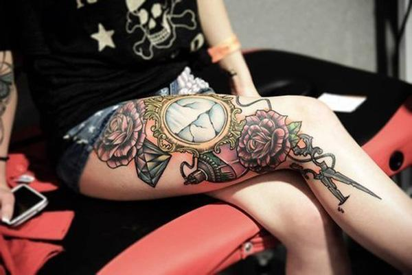 1dd2e10eef0fc Girly leg tattoos - 50 Examples of Girly Tattoo <3 <3 ...