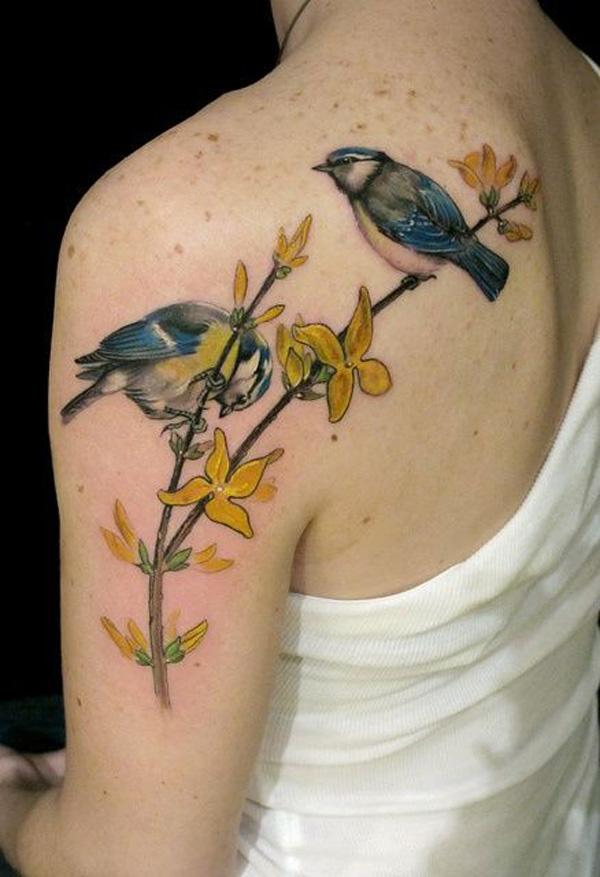 34 Beautiful birds girly tattoos Dandelion Bird Tattoo On Side