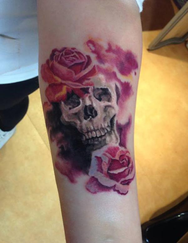 26205872f432f Skull and Flower Forearm Tattoo - 110+ Awesome Forearm Tattoos <3 <3 ...