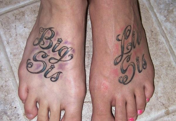 Matching sister tattoos on foot