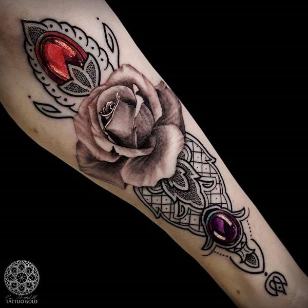 a2c36d751 Rose and diamond forearm tattoo - 110+ Awesome Forearm Tattoos ...