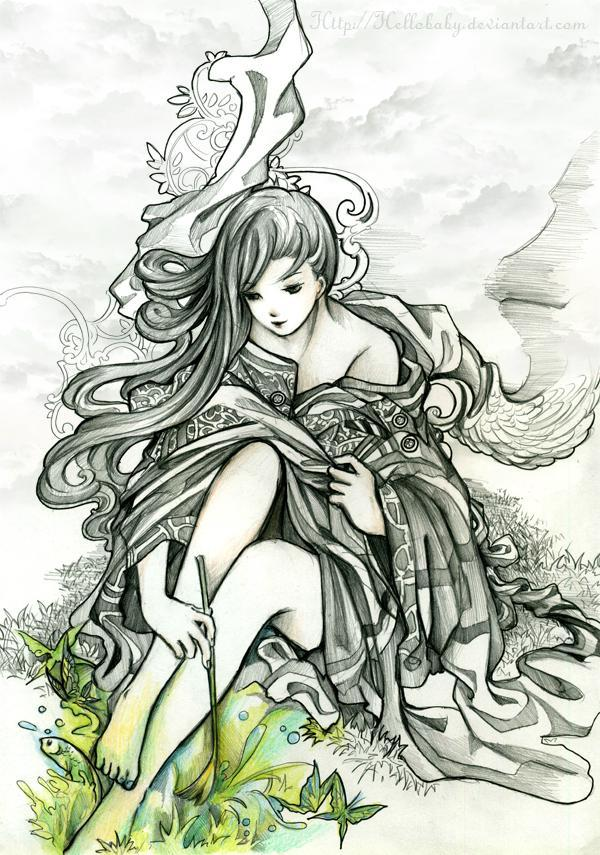 Anime Drawing Painting A Green World 55 Beautiful Anime Drawings