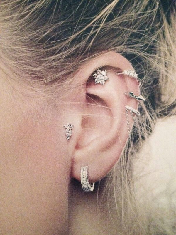 earring cartilage top piercing is upper heart loading stud s itm flower daith gem ear image tragus