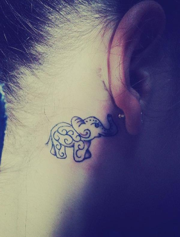 Behind the ear elephant tattoo - 55 Elephant Tattoo Ideas  <3 !