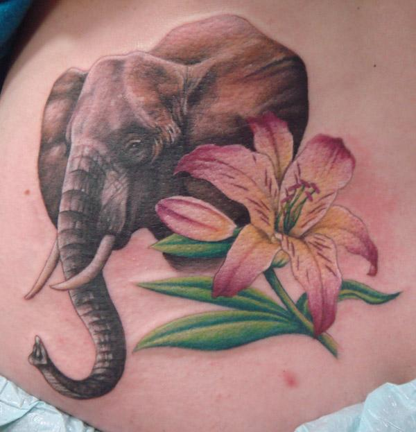 Elephant and lily tattoo - 55 Elephant Tattoo Ideas  <3 !