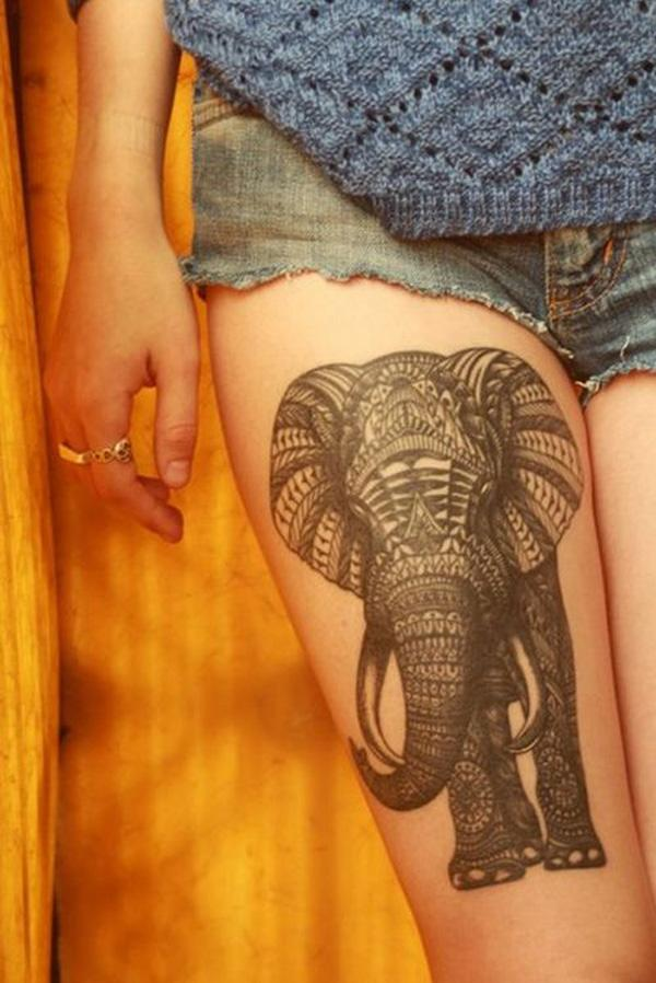 Elephant thigh tattoo for girl - 55 Elephant Tattoo Ideas  <3 !