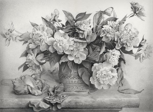 Denis chernov still life with flowers 30 beautiful flower drawings